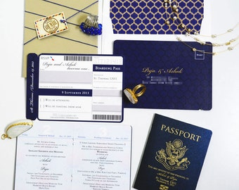 PUJA Passport and Boarding Pass Destination Wedding Invitation Suite, Custom Booklet Invite, Airline Ticket, Plane Ticket, US Passport Card