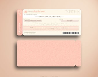 TRACY Boarding Pass, Destination Wedding Invitation Suite, Plane Ticket, Airline Ticket, Travel Inspired, Ticket Holder, Blush and Ivory
