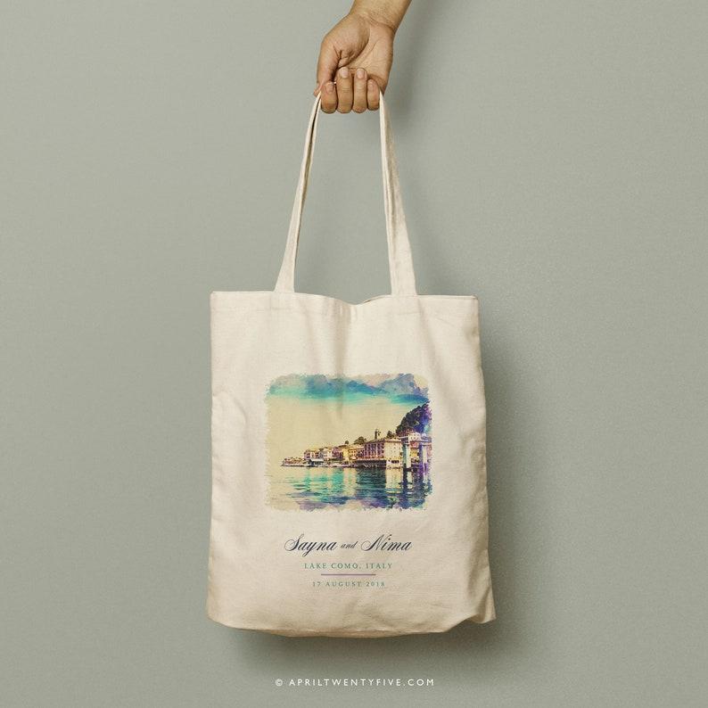 ac6dc2860e11 NEDA Lake Como Italy Watecolor Design Custom Canvas Totes Bridesmaid Gift  Custom Tote Bag, Beach Wedding Custom Favor, Welcome Souvenir Bag