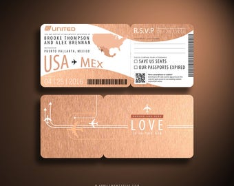 BROOKE Rose Gold, Boarding Pass, Airline Ticket, Destination Wedding Invitation, Plane Ticket, Travel Inspired, Ticket Holder