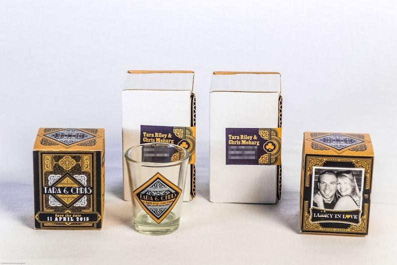 TARA Gold and Black Las Vegas Monte Carlo Inspired Custom Boxed Save the Date Shotglass