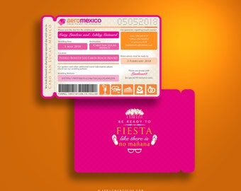 CANDACE Travel Inspired Save the Date Boarding Pass Airline Ticket Plane Ticket Mexican Wedding Invitation