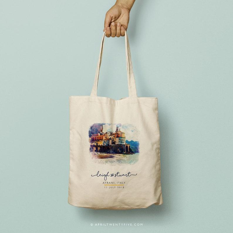 d052f1f0f486 LEIGH Atrani Italy, Amalfi Coast, Custom Totes, Bridesmaid Gift Custom Tote  Bag, Watercolor, Beach Tote, Wedding Favor, Destination Wedding