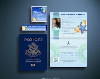 ELISSA Passport Save the Date Card, US Passport, Wedding Invitation, Seashells and Starfish Beach Wedding, Custom Destination Wedding Invite