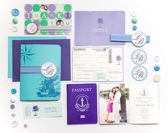 Nautical Passport and Boarding Pass Cruise Wedding Invitation