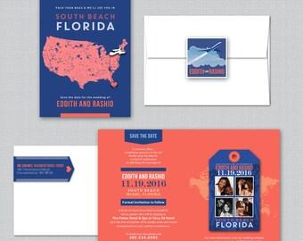EDDITH Florida Wedding Save the Date Luggage Tag Magnet