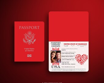 KASEY Red and White Valentine Embossed Wedding Passport and Boarding Pass/ Airline Ticket Destination Wedding Invitation