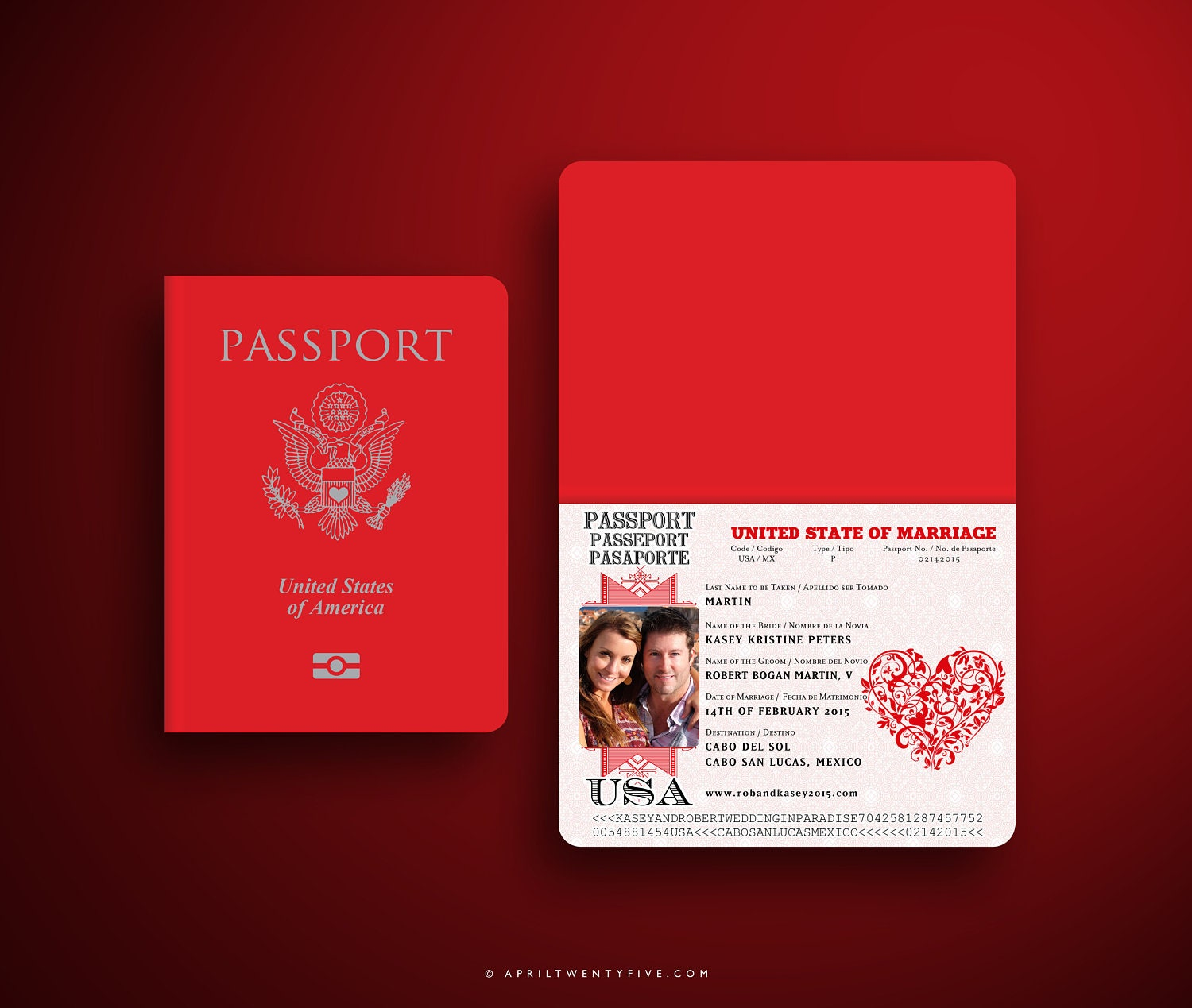 KASEY Red and White Valentine Embossed Wedding Passport and | Etsy