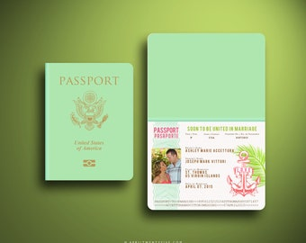 SIENNA (in Pink) Passport and Boarding Pass Destination Cruise Wedding Invitation Suite, Custom Booklet Invite, Airline Ticket, Plane Ticket