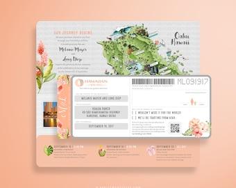 MIEL Peach Hibiscus Boarding Pass, Destination Wedding Invitation, Travel Inspired, Airline Ticket, Plane Ticket Oahu Hawaii