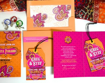 STEFANIE Mexican Fiesta, Save the Date, Wedding Invitation, Pink and Orange, Luggage Tag Magnet