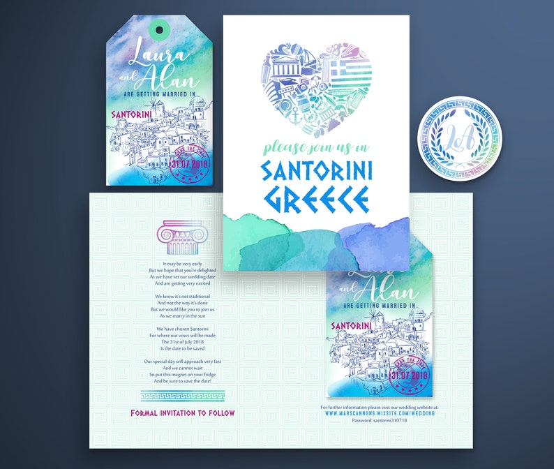Save the Date Luggage Tag Magnet for a Wedding in Santorini image 0