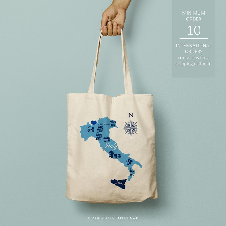 Map of Italy Custom Canvas Tote Italian Landmarks Tote Bag Just the totes