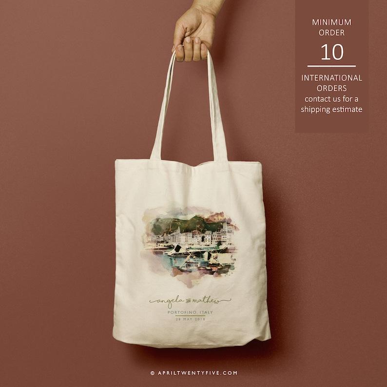 Portofino Italy custom totes bridesmaid gift custom tote bag Just the totes