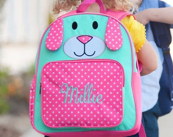 a0129b5f30 PRESCHOOL Pink Puppy Backpacks! BookBag Adorable Embroidered Personalized  Backpack - In Stock