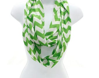Lime Chevron Infinity Scarf, Infinity Scarf, Lime Green Scarf, Monogrammed Scarf