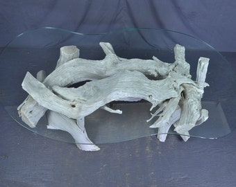 Sun Bleached Silver Gray Peanut Glass Driftwood Coffee Table
