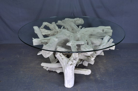 Astounding Sun Bleached Silver Round Driftwood Coffee Table Uwap Interior Chair Design Uwaporg