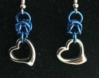 Heart Charm Chainmail Earrings