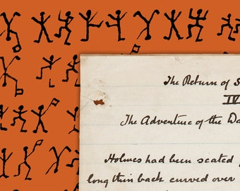 """Sherlock Holmes """"The Adventure of the Dancing Men"""" manuscript and cryptograph A3 poster print - Orange, yellow or blue"""