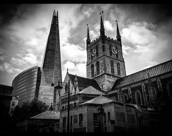 Old and new London - Black and white 10x7 print featuring the Shard and Southwark Cathedral