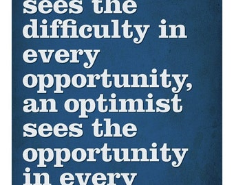 Winston Churchill optimism quotation -10x8 Print