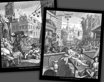 William Hogarth, Gin Lane and Beer Street, 10x12 inch prints
