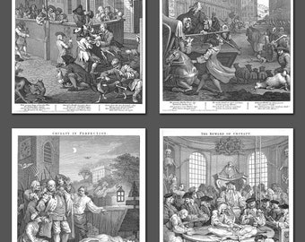 William Hogarth, The Four Stages of Cruelty, set of four 10x8 inch prints