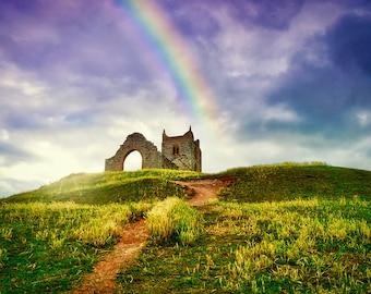 Burrow Mump, Somerset, rainbow sunset - 10x7 inch photographic print