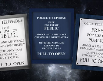 """Tardis Police Box Telephone """"Pull to open"""" Door panels - Set of 3 10x8 inch prints - Doctor Who"""
