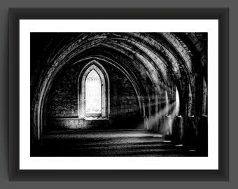 Fountains Abbey Cellarium, North Yorkshire, England, 10x7 inch photographic print
