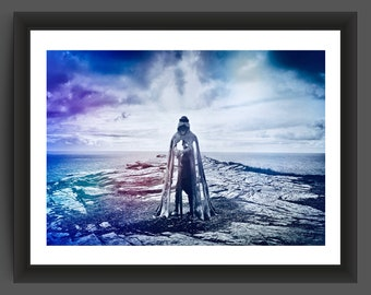 "King Arthur ""Gallos"" sculpture, Tintagel, Cornwall - 10x7 inch photographic print"
