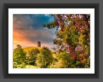 Glastonbury Tor, Somerset, beautiful sunrise - 10x7 inch photographic print