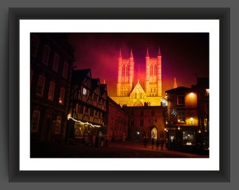 Lincoln Cathedral, England on a misty evening - 10x7 inch photo print