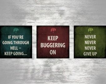 Winston Churchill quotations - set of 3 unique 8x8 prints