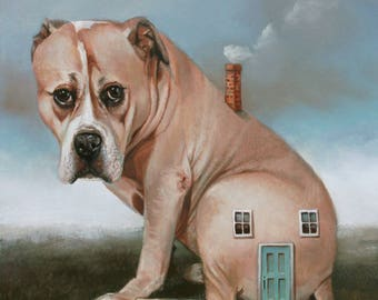 Doghouse. Signed Art Print of an Original Surreal Oil Painting