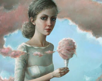 Cotton Candy Clouds. Signed Print of an Original Surreal Oil Painting