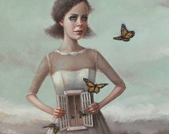 Butterflies in the Stomach. Signed Print of an Original Surreal Oil Painting