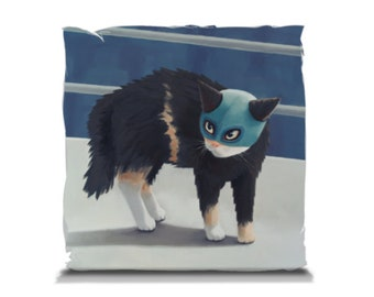 Pillow -14x14 inches - Luchador Kitty-The Challenger