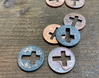 250 pennies with cross cut out cross cut pennies