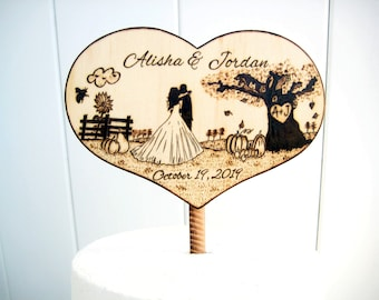 Autumn Wedding Cake Topper, Rustic wedding, Thanksgiving, Silhouette Bride and Groom, Pumpkin, Sunflower, Bee, Fall Wedding, Tree, wood