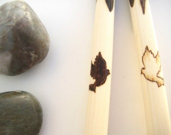 Bamboo Engraved Chopsticks Doves Custom Personalized Pyrography Gift Idea