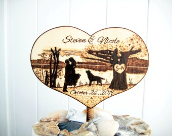 Rustic lake or beach Wedding Cake Topper, Country wedding, Silhouette bride and groom, Unique wedding gift for the couple, Wood Heart