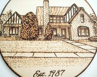 Custom House warming gift, Personalized house ornament, Christmas ornament, Wood burning, New home, New house gift, Real estate gift, Couple