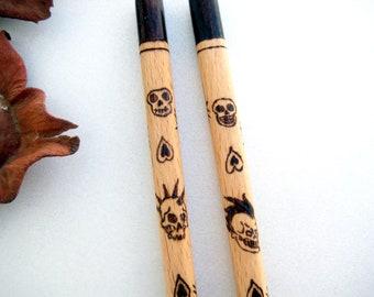 Sugar skull chopsticks, Personalizable gift for father, Boyfriend, Girlfriend, Skulls with mohawk, Punk style, Asian dining utensils, Sushi