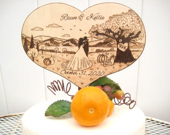 Fall wedding cake topper with mountains and lake, Tree and pumpkins, Country wedding decor, Bride and groom silhouette, Rustic heart topper