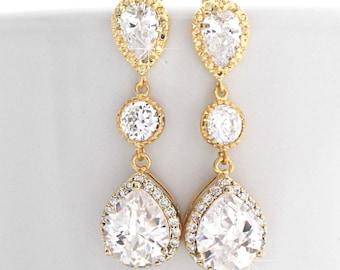 Cubic Zirconia Drop Earrings Gold, Bridal Earrings, Gold Teardrop Earrings, Long Bridal Earrings, Wedding Earrings Gold, Earrings Dangle
