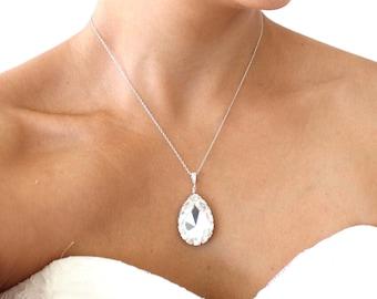 Large Bridal Teardrop Necklace, Bridal Pendant Necklace, Wedding Necklace, Swarovski Crystal Necklace, Cubic Zirconia Jewelry Bridal Jewelry