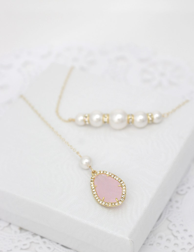 Dainty Pearl Bridal Backdrop Necklace Blush and Gold or Sterling Silver Long Back Necklace Pink Delicate Wedding Back Drop Necklace