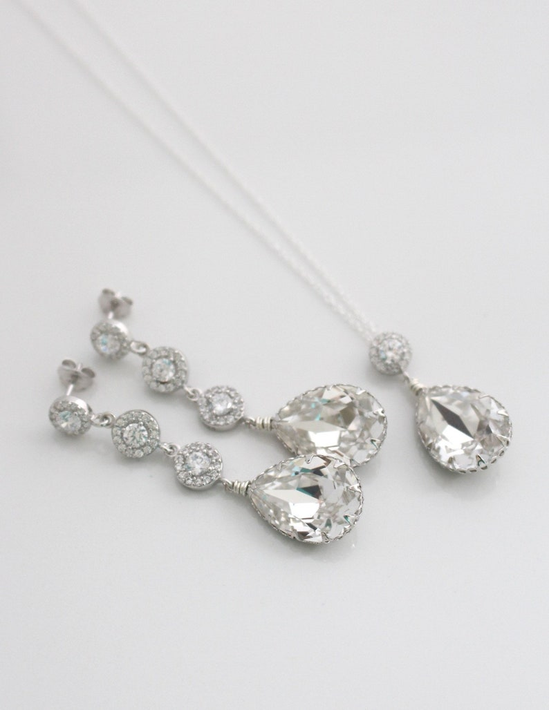 eaa6e842c6350 Long Wedding Earrings and Necklace Set, Clear Bridal Statement Jewelry Set,  Swarovski Teardrop Earrings, Cubic Zirconia, Sterling Silver